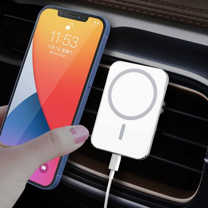silver Aluminum Magsafe charger for car