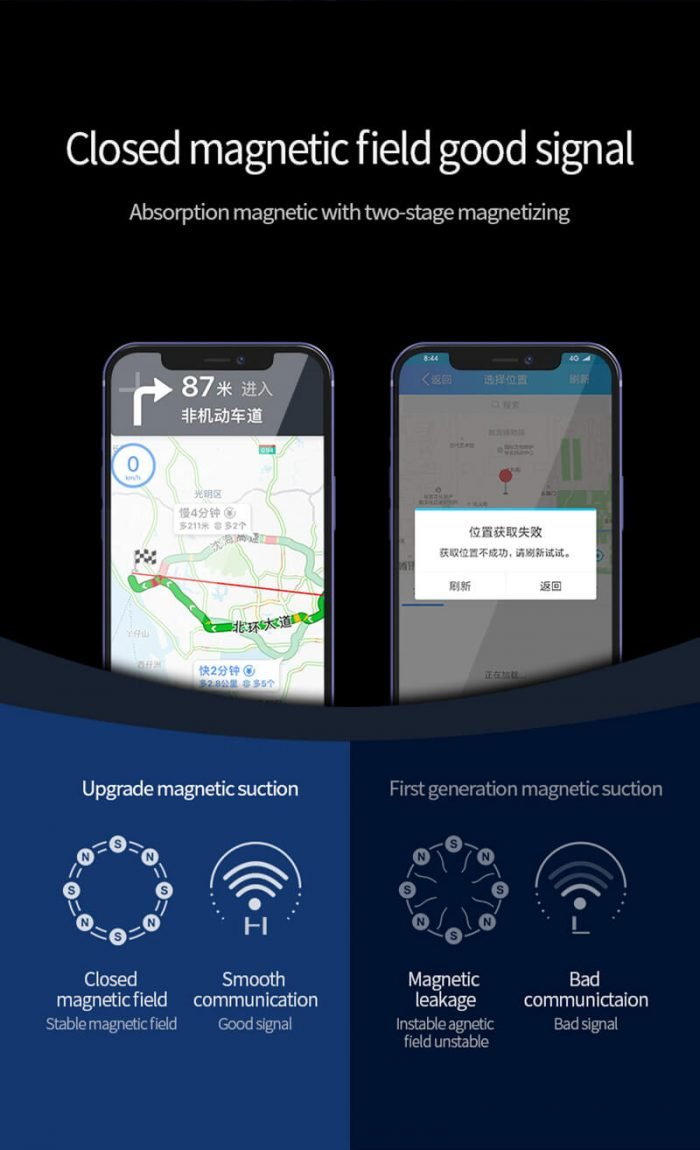 Magsafe wireless car charger for navigation